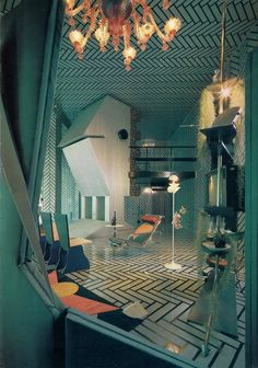 Znalezione obrazy dla zapytania 60's inspired interior design monochromatic