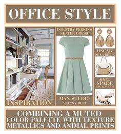 """""""Office Style - Texture, Metallics And Animal Prints"""" by latoyacl ❤ liked on Polyvore featuring J.Crew, Kate Spade, Closet, Max Studio and Oscar de la Renta"""