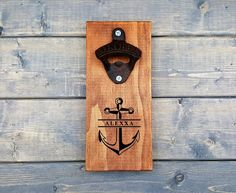 Nautical Bottle Opener, Personalized Wall Bottle Opener, Wall Bottle Opener, Beer Opener, Groomsmen, Anchor, Last Name