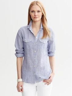 Soft-Wash Striped Linen-Cotton Shirt- Banana Republic- like this color better