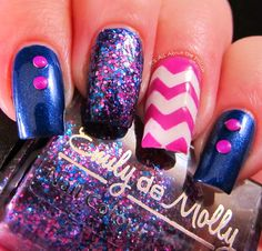 navy & pink glitter chevrons It's all about the polish: Wave of Polish Skittlette