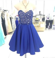 A wide selection of white dress,white dresses and little black dress are at a discount and weddingdressesonline recommends  elegant blue sweetheart neckline homecoming dresses 2016 shining beaded satin sleeveless knee length a-line zipper cocktail party dress gown greatly.