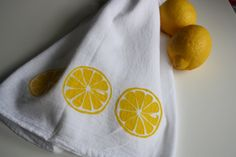 Lemon Kitchen towel hand screened. $7.00, via Etsy.