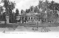 Seaside villa at Tanjong Katong. With horse-drawn carriages waiting to convey members of the family, this would be one of many such bungalows owned by wealthy Straits-born Chinese. History Of Singapore, Singapore Photos, Old Pictures, Old Photos, Vintage Photos, British Colonial Style, Old Advertisements, Horse Drawn, Revenge