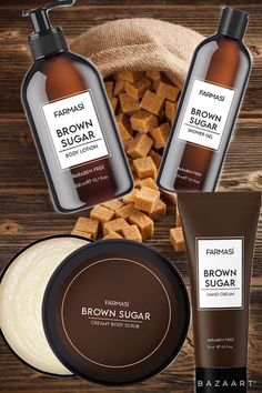 With Shea butter and sweet almond oil, this series is a treat with purpose for your skin. Leaves a silky, smooth feeling with no residue! Farmasi Cosmetics, Sweet Almond Oil, Hand Cream, Body Scrub, Shower Gel, Body Lotion, Shea Butter, Brown Sugar, Best Makeup Products