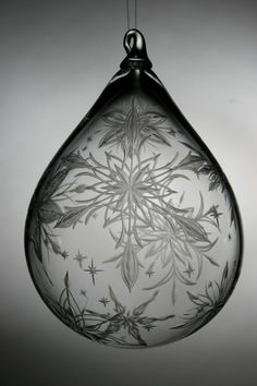Hand engraved Large Crystal Ornament with snowflakes by Catherine Miller of Catherine Miller Designs.* Technique-Stone wheel