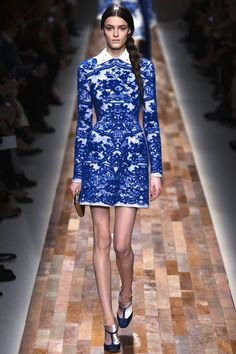 valentino fall 2013 - love the pattern and the sparkly blue shoes