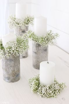 Everything is cuter in mini size! Click for how to make these DIY Mini Candlestick Wreaths, or sometimes called candle rings. Decor for weddings, centerpieces, or a vignette in your home. #candlestick #wreaths #wreath #mini #miniwreath #candlerings #candlering #camitidbits #babysbreath #weddingdecor #vignette #candle