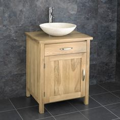 Cube Solid Oak Two Door One Drawer Bathroom Basin Cabinet www
