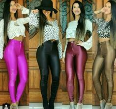 One of the best looking sights for a very long time.and this quartet of sexy ladies in Lycra tights is a great view too. Leggings Brilhantes, Shiny Leggings, Moda Disco, Disco Pants Outfit, Tight Leather Pants, Sexy Women, Disco Fashion, Spandex Pants, Ideias Fashion