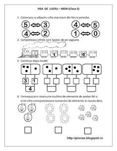 Fise de lucru - gradinita Kindergarten Math Worksheets, Math Literacy, Preschool Math, Math 2, Educational Activities For Kids, Kids Learning, Teaching Emotions, Kids Schedule, Math Numbers