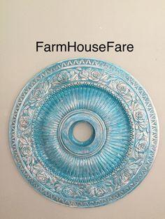 Ceiling Medallion Turquoise Copper Glaze Chandelier Ceiling Cap Home Decor Farm House Fare by FarmHouseFare on Etsy https://www.etsy.com/listing/220724605/ceiling-medallion-turquoise-copper-glaze