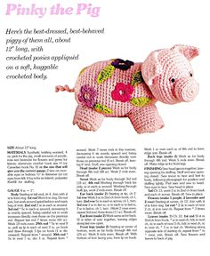 The Vintage Toy Chest: Crochet Patterns  - Pinky the Pig  and also Pappa  Momma and Baby bear patterns