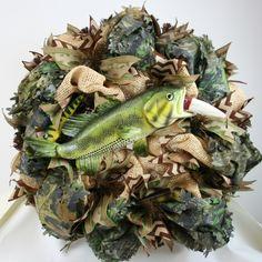 Beautiful Summer/Spring Lake House Camo Bass Fishing Deco Mesh Wreath, $95.00