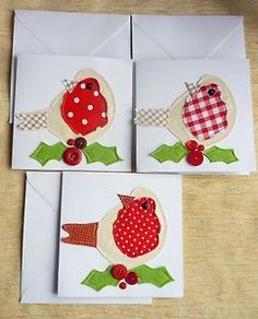 Pack of 3 Mixed Christmas Cards Robin Red Breast Handmade Stitched With Holly | eBay