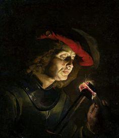 Soldier lighting a candle by Matthias Stom, 1630s (PD-art/old), Muzeum Narodowe w Warszawie (MNW)