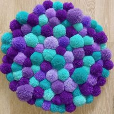 "Buy Rug of pompons ""Bubbles"". Diy Pom Pom Rug, Pom Pom Crafts, Pom Pom Garland, Yarn Crafts, Diy Crafts, Crafts To Make, Arts And Crafts, Pom Pom Animals, Craft Projects"