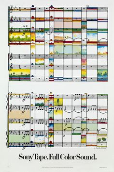 Milton Glaser - Sony Tape Full Color Sound, 1979 - The score of Beethoven's 6th Symphony used as the background to a pastoral intervention.