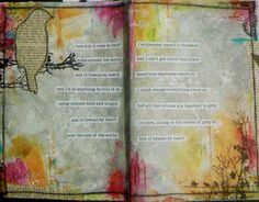 Art journal page 'Grey St' by Melita Bloomer Wanna start using typed words that I glue on.  I really like this look