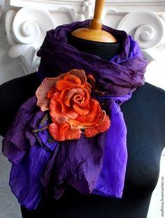 Шарфы и шарфики ручной работы. Ярмарка Мастеров - ручная работа. Купить Шелковый шарф-палантин Фиолетовый. Handmade. Темно-фиолетовый