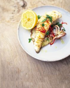 Chargrilled whole squid with chilli and mint