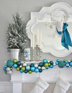 Blue Christmas: mantle, garland. White accents