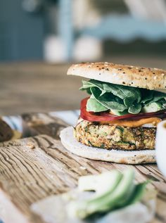 Vegetarian Zucchini White Bean Burgers with Sriracha Avocado Sauce | Lemons and Basil, perfect for National Zucchini Day!