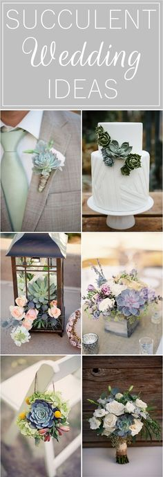 Succulent Wedding Ideas - wedding cakes, bouquets, boutonnieres, centerpieces and invitations Bouquet Succulent, Succulent Wedding Centerpieces, Succulent Wedding Invitations, Succulent Boutonniere, Cake Centerpieces, Succulent Arrangements, Wedding Reception Flowers, Floral Wedding, Wedding Bouquets