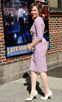 Purple reign: Vera Farmiga wore a lilac suit for her appearance on the Letterman show in New York on Monday Old Actress, American Actress, Girl Celebrities, Celebs, Norma Bates, Beautiful Girl Body, Beautiful Ladies, Vera Farmiga, Perfect Woman