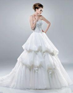 Robe de bal sans bretelles de mariage robe en organza - Robes de Mariage Boutique