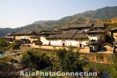 yongding; village; fujian; province; architecture; china; chinese; east; asia; asian; travel; destination; landmark; ancient; old; traditional; buildings; houses; town; culture; cultural; heritage; site; history; historic; historical; rural; countryside; outdoors; river; water; mountain; hakka