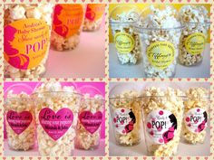 Great ideas for popcorn parties - Ready To Pop Baby Showers, He Popped the Question, etc. Get the popcorn at www.etsy.com/shop/CandysPopcorn and see Posh Box Courture for the containers