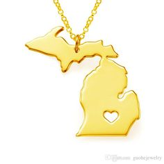 Heart Michigan Map Necklaces Silver Statement Necklaces Jewelry Personalized Three Colors Necklaces State Charm Map Jewelry Silver Heart Necklace Pendants For Men From Guohejewelry, $1.36  Dhgate.Com