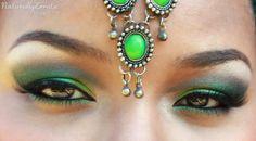 Green Arabic Makeup. #Sugarpill #Midori #Acidberry How To Be Indie, Arabic Makeup, Arab Women, Bridal Makeup, Septum Ring, Make Up, Photo And Video, Eyes, My Style