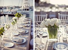 nautical wedding: khaki linen, white + green flowers, bridesmaids wore royal blue