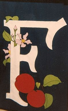 Calligraphic initial flag for apple grower - BME