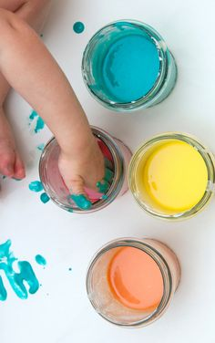 Make paint for kids that is taste-safe with this easy recipe! #babypaintingideas #babypaintrecipe #tastesafepaint #fingerpaintingideasforkids #growingajeweledrose Finger Painting For Kids, Baby Painting, Toddler Preschool, Toddler Crafts, Home Made Paint For Kids, Baby Art Activities, Edible Finger Paints, How To Make Paint, Play Food