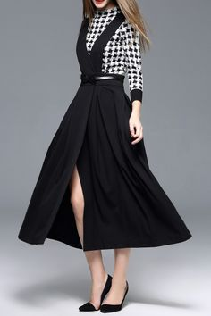 Houndstooth Sweater With Maxi Suspender Skirt