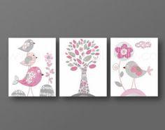 Del arte de la niña de Nursery Decor Pink arte de la pared del arte de la pared del cuarto de niños Kids gris Bebé Nursery flor del árbol de Vivero pájaros Vivero Set de 3 impresiones