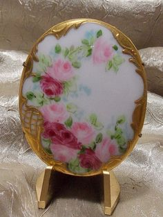 Antique Handpainted Porcelain Roses Brooch by TheEclecticDiva, $48.00