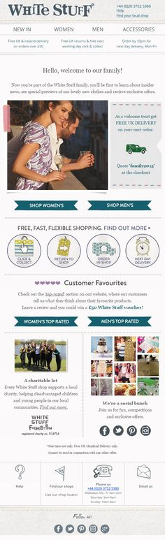 Welcome email from White Stuff featuring a coupon code for Free UK Delivery, social proof - showing the favourite products of their current customers, a news feed and links to social media. #EmailMarketing #SocialProof #Coupon #SocialMedia #Welcome #Fashion