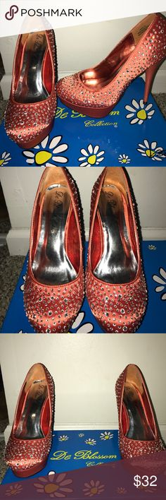 Coral Satin Bling Heels These blinged out  coral heels have only been worn once. Great condition, only the box has some glitter glue on it.. these shoes are a show stopper! De Blossom Collection Shoes Heels