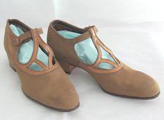 Vintage 1920's Tan Suede T-Strap Shoes  Dixie Girl
