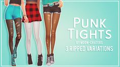 "Ripped Punk Tights - Maxis Match""Just some fun ripped punk tights for you all. I really needed some maxis match ones in my game and it seemed as though no one had made any yet. There are 3 rip..."