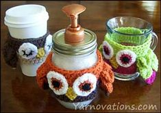 Owl Cozy for Mason Jar or for your coffee cup! Instructions on how to make the mason jar soap dispenser too!!