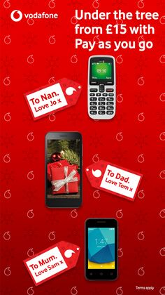 Staying close to the ones you love is what the festive season is all about. That's why we've made keeping in touch this Christmas even more simple with amazing value handsets. Plus, with Vodafone Pay As You Go 1, you can limit your spend not your chat and never pay more than a £1 a day. The rest is on us.