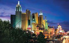 New York New York hotel Las Vegas exterior lit up night Manhattan