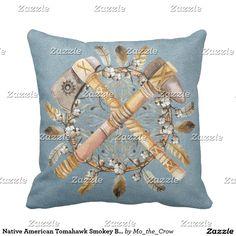 Native American Tomahawk Smokey Blue Suede Throw Pillow