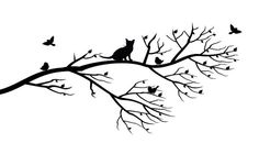 Cat in Tree vinyl wall art by Clingonwallquotes on Etsy