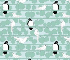 Birds and Vines   Limited Palette  fabric by wildnotions on Spoonflower - custom fabric